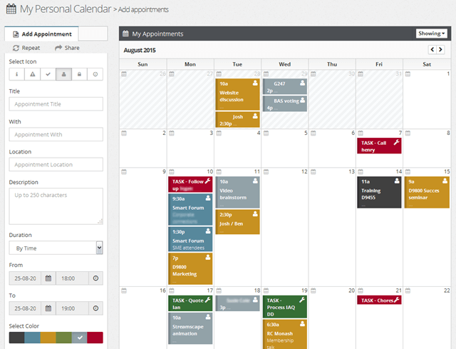 Personal Calendars and Tasks